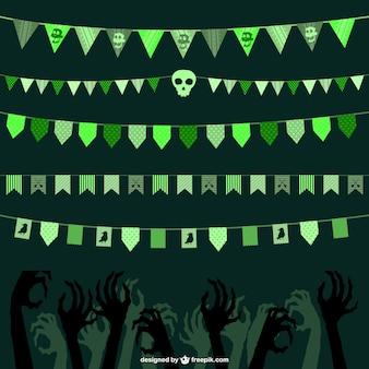 Green Halloween bunting