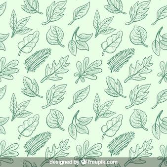 Green hand drawn leaves pattern