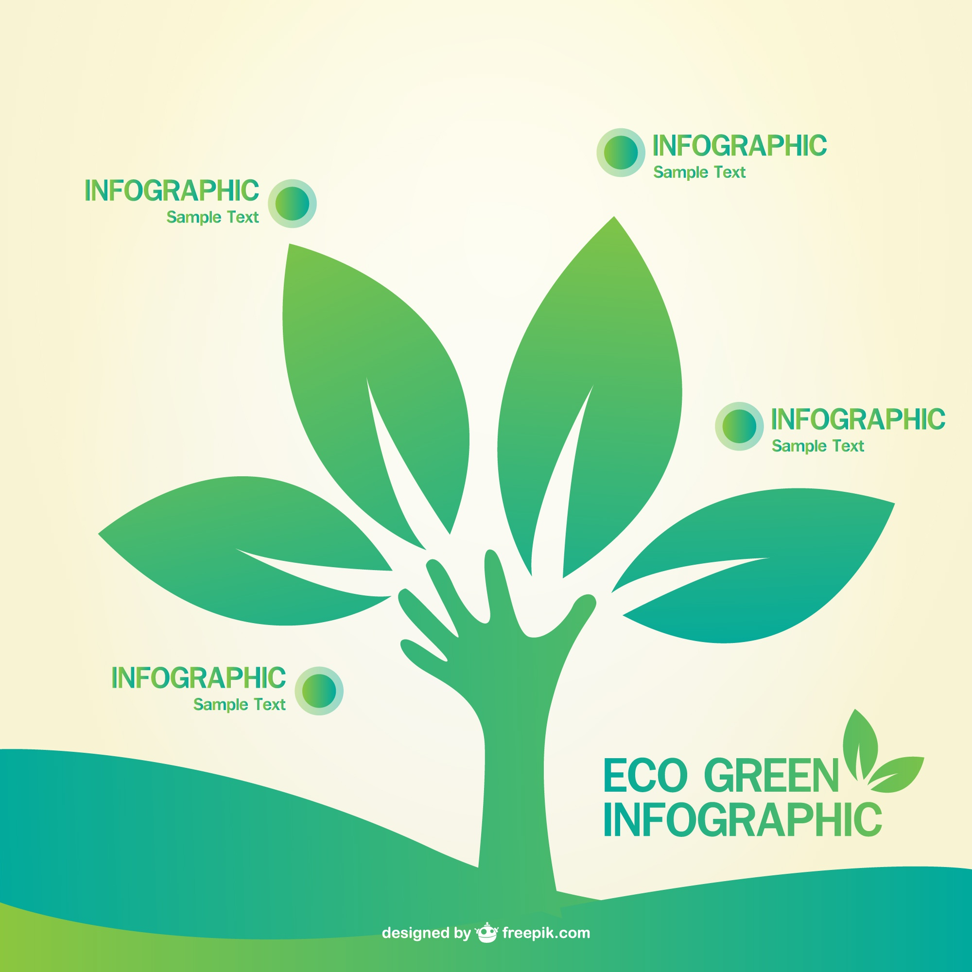 Green infographic vector template
