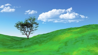 Green landscape on a clear day