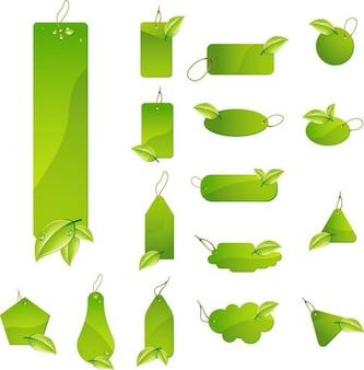 green leaf tag labels vector set