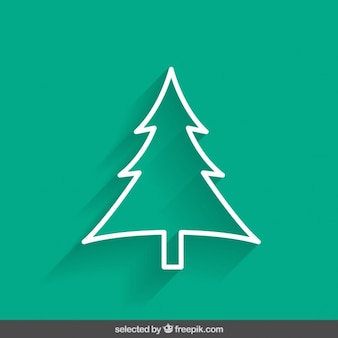 Green outline tree Christmas card
