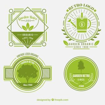 Green retro badges