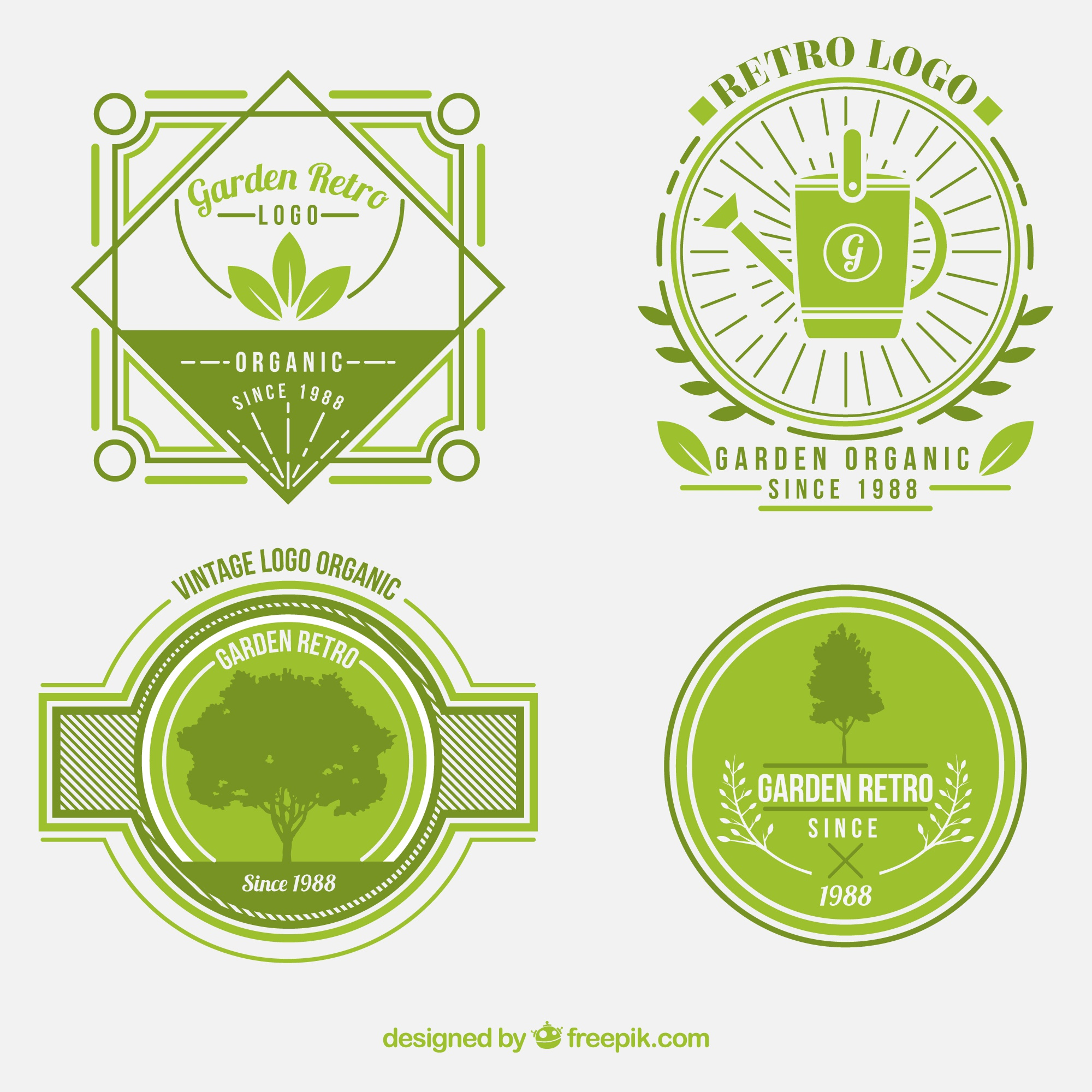 Green retro badges