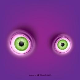 Green round eyes vector