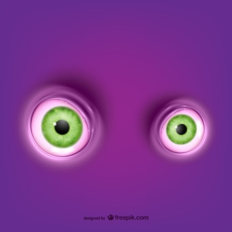 Green round eyes vector