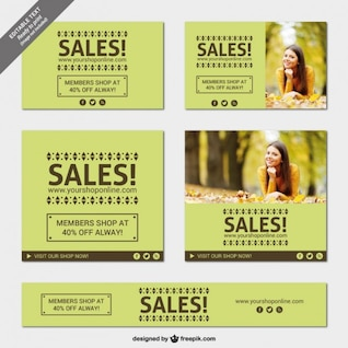 Green sales banners