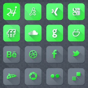 Green social media icons PSD