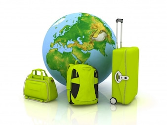 Green suitcases and earth globe