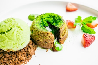 Green tea chocolate lava with ice cream and strawberry