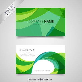 Green visit card in abstract style
