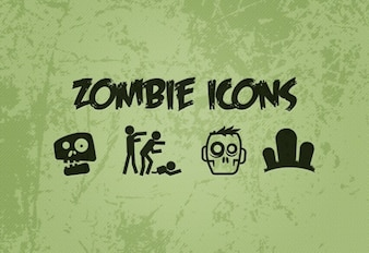 Green zombie vector icons set