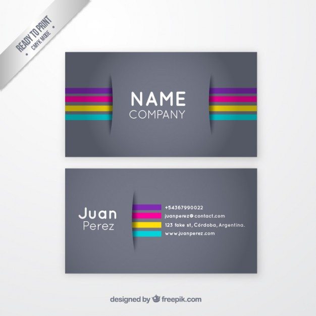 Grey business card with colorful stripes