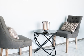 Grey color chairs with modern design table-interior