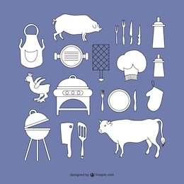 Grill graphic elements set