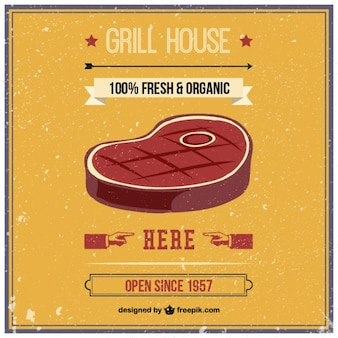 Grill house retro vector