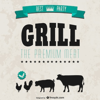 Grill party retro style invitation