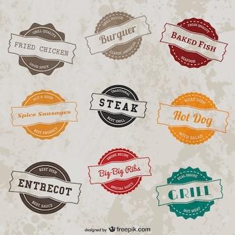 Grill restaurant retro stickers collection