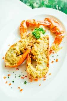 Grilled lobster with butter and garlic