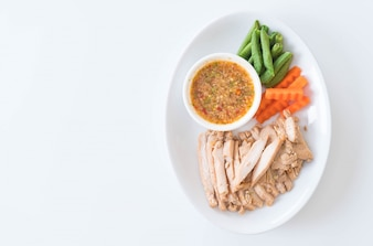 Grilled pork and vegetable with spicy sauce