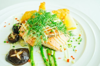 Grilled salmon meat fillet steak with vegetable