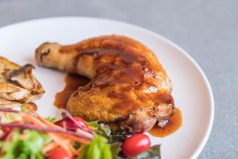 Grilles chicken steak with teriyaki sauce
