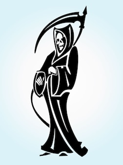 Grim reaper tattoo vector illustration