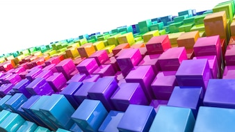 Group of bright colorful boxes
