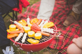 男女のグループは、バックグラウンドでテント付きの湖でキャンプピクニックとバーベキューを楽しむ。若い、混血、アジア人、女、人。ヴィンテージエフェクトスタイルの写真。