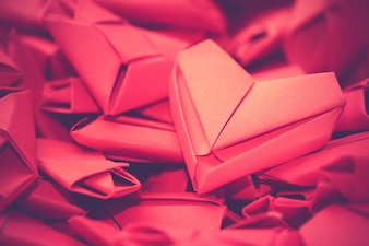 Group of red paper hearts