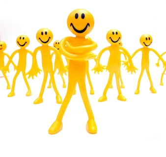 Group of successful yellow figures