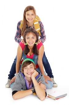 Group of teenagers piled up
