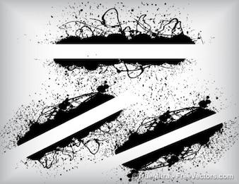 Grunge banners art abstract splash ink urban vintage black