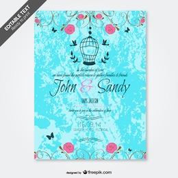 Grunge floral wedding invitation