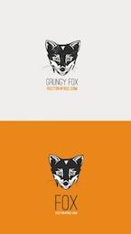 Grunge fox vector logo