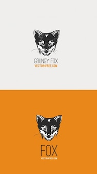 Grunge fox vector logo