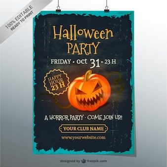 Grunge Halloween party poster template