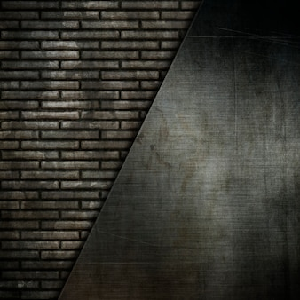 Grunge metal plates on an old brick wall background