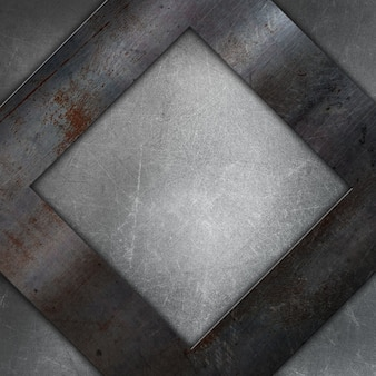 Grunge metal texture with a square