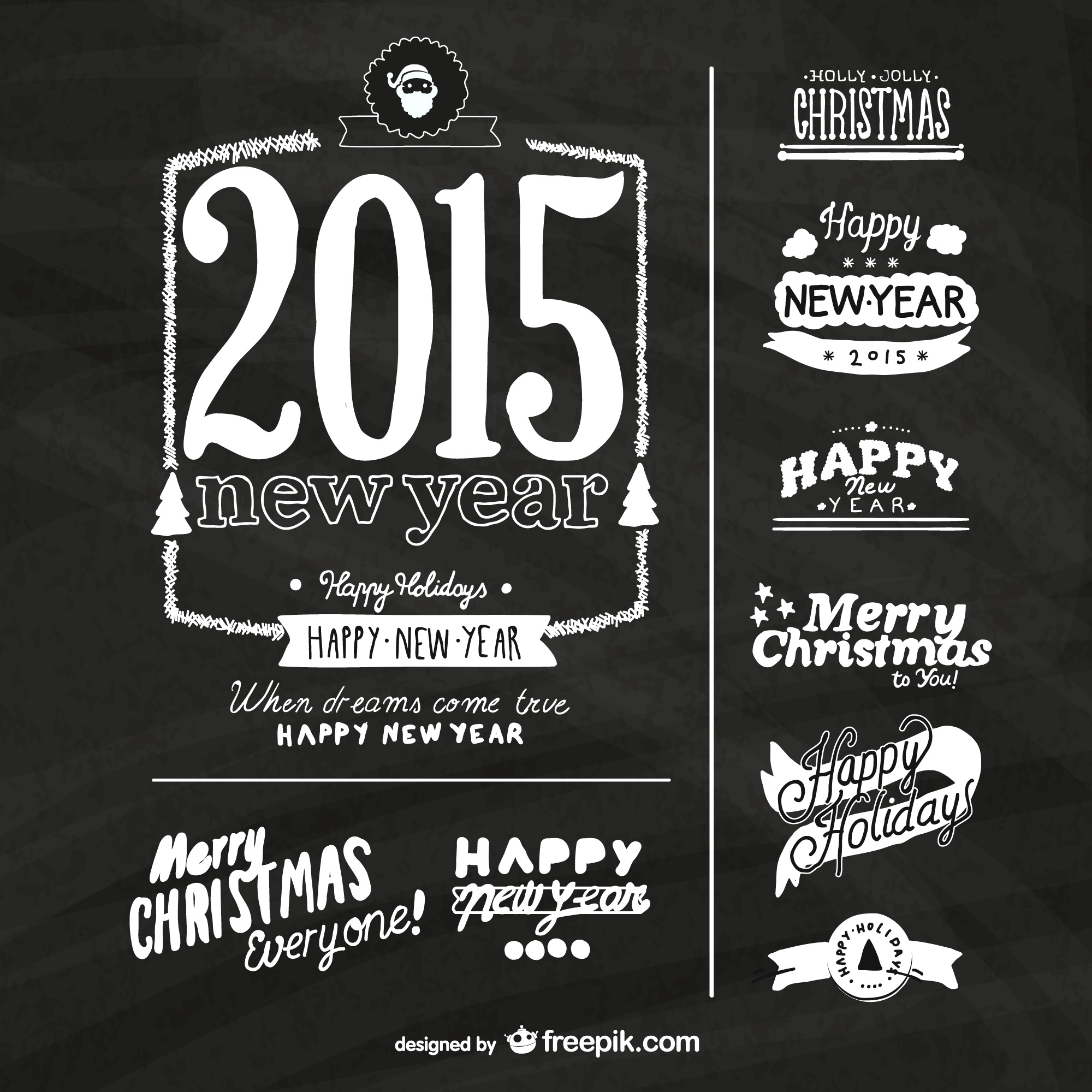 Grunge New Year labels with blackboard texture