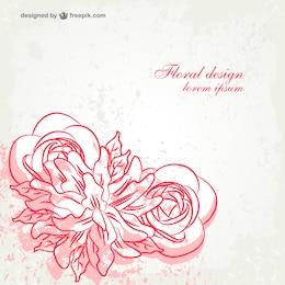 Grunge rose vector card