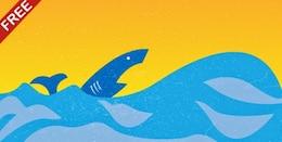 Grunge shark on the water vector illustration