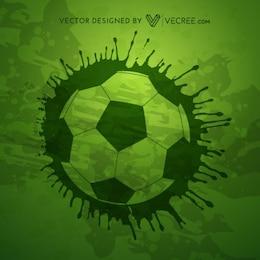 Grunge soccer ball on green background