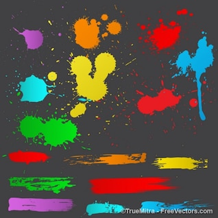 Grunge strokes splashes backgrounds vector set