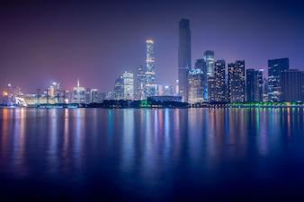 Guangzhou, China-Jan.8,2016: Night view of Zhujiang New Town, Gu