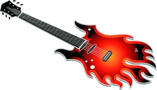 Guitar flame rock music vector