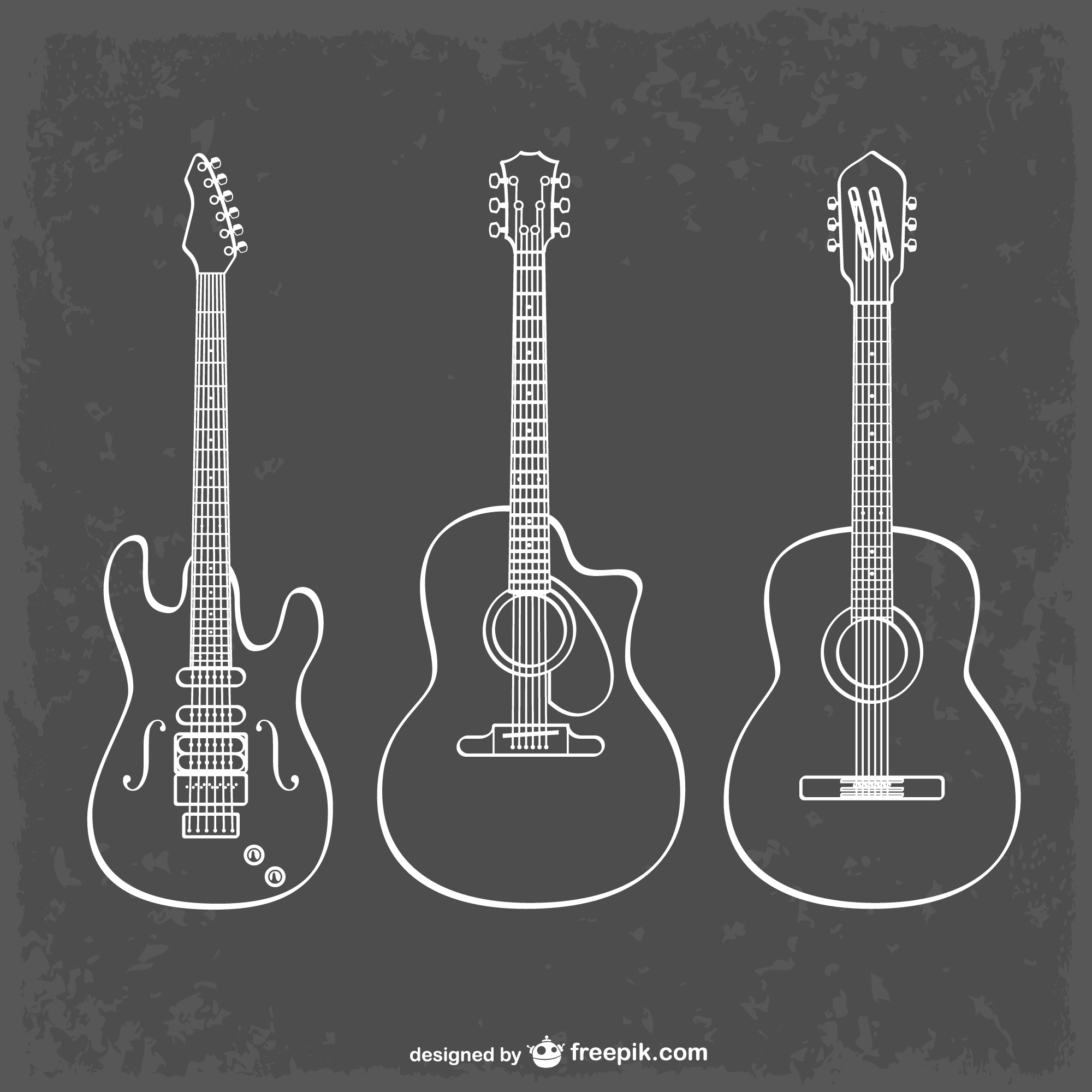 Guitar line art illustration