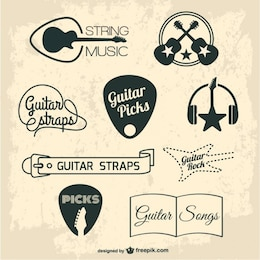 Guitar retro graphic elements