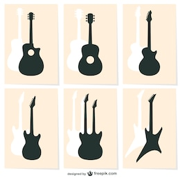 Guitar silhouette vector icons