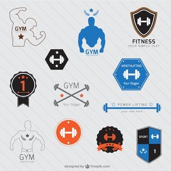 Gym logos set